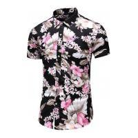Camisa Masculina Florida Manga Curta - Preta E Rosa