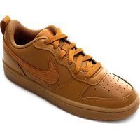 Tênis Infantil Couro Nike Court Borough Low 2 - Masculino-Marrom