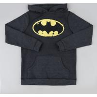 Blusão De Moletom Juvenil Batman Com Bolso Canguru Cinza Mescla Escuro