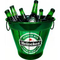 Balde De Gelo Alumínio Temático Cerveja Cor Verde 27X27X20Cm