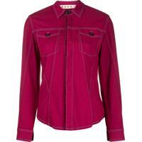 Marni Camisa Com Pesponto Contrastante - Rosa