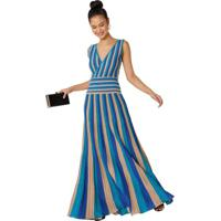 Vestido Longo Plissado Lurex