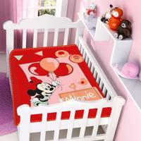 Cobertor Infantil Jolitex Raschel Minnie Festa Rosa