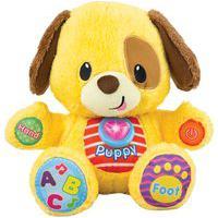 Cãozinho De Pelúcia Yes Toys 0669-55 Aprenda Comigo Musical Amarelo