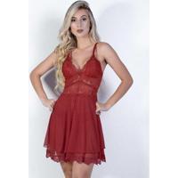 Camisola Yasmin Lingerie Chanty Tule Feminina - Feminino-Vermelho