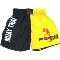 Short Muay Thai Progne Esportes Amarelo