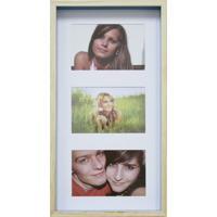 Quadro Para Fotos Wood Natural E Azul 20X40Cm