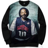 Blusa Bsc Snoop Usa Full Print - Masculino-Preto