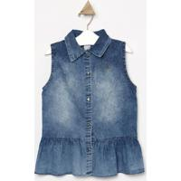 Camisa Jeans Com Tag Da Marca- Azul- Look Jeanslook Jeans