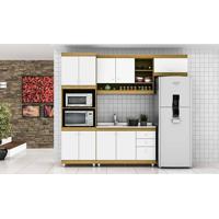 Cozinha Modulada Completa Com 4 Módulos Retrô Ball Carvalho/Branco - Urbe Móveis