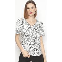 Blusa Floral Texturizada- Preta & Branca- Vip Reservvip Reserva
