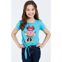 Blusa Infantil Manga Curta Estampa Minnie Laço Disney