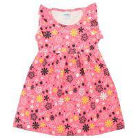 Vestido Infantil Feminino Rosa Floral Tiktak Kids
