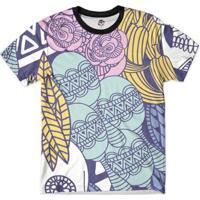 Camiseta Bsc Caveira Chocalho Full Print Masculina - Masculino-Azul
