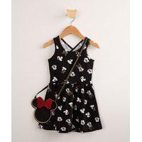 Vestido Infantil Estampado Minnie Mouse + Bolsa Preto