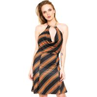 Vestido Lança Perfume Curto Frente-Única Preto/Caramelo