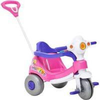 Triciclo Infantil Calesita Com Empurrador Velocita - Unissex-Rosa+Branco