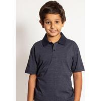 Camisa Polo Infantil Aleatory Mini Poá Rocket Masculino - Masculino-Marinho
