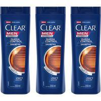Kit Shampoo Anticaspa Clear Men Queda Control 200Ml Com 3 - Masculino-Incolor