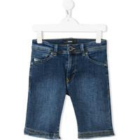 Diesel Kids Short Jeans Com Acabamento Desfiado - Azul