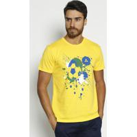 Camiseta Bola De Futebol Com Logo-Amarela & Azul-Vipvip Reserva