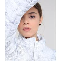Jaqueta Feminina Puffer Esportiva Ace Estampada Com Respingos Gola Alta Off White