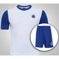 Kit De Uniforme De Futebol Do Cruzeiro Com Calção E Camisa Estrelas - Infantil - Branco/Azul