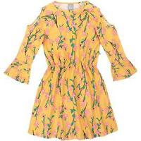 Hering Vestido Floral Com Elã¡Stico Amarelo & Rosa Claro