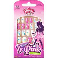 Unhas Postiças Infantil Autoadesiva Pink By Kiss New York - Feminino-Branco+Pink