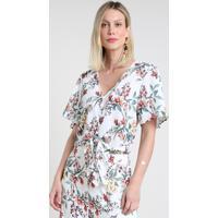 Blusa Feminina Cropped Estampada Floral Com Nó E Botões Manga Curta Decote V Branca
