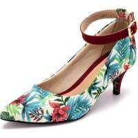 Sapato Scarpin Com Laço Salto Alto Fino Em Tecido Floral Branco - Kanui