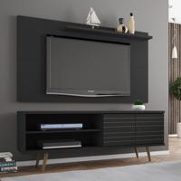 Rack Com Painel Para Tv Até 50 Polegadas Utah Preto Fosco - Pnr Móveis