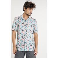690bb2418 CEA  Camisa Masculina Estampada De Folhagem Com Bolso Manga Curta Coral