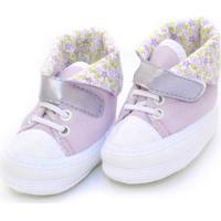 Tênis Cano Alto Floral Sapatinhos Baby Lilás