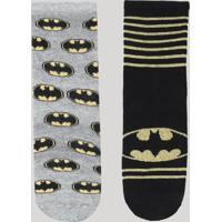 Kit De 2 Meias Infantis Batman Multicor