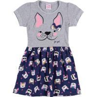 Vestido Infantil Para Menina - Cinza/Azul Marinho