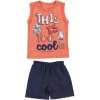 Conjunto Infantil Para Bebê Menino - Coral/Azul Marinho