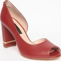 Peep Toe Em Couro - Vermelho Escuro & Dourado- Saltojorge Bischoff