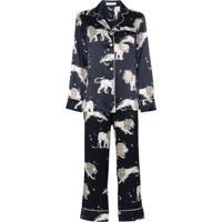 Olivia Von Halle Conjunto De Pijama Lila Com Estampa De Leão - Azul