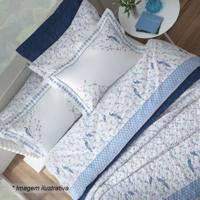 Jogo De Cama Hanani Floral King Size- Branco & Azul Clarsultan