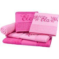 Jogo Toalha 5 Pçs Banho Bordado Ela E Ele Perfeito Estilo Pink/Rosa