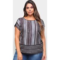 Blusa Habana Listrada Plus Size Feminina - Feminino-Preto