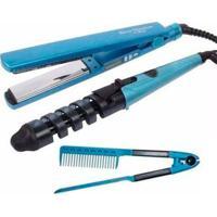 Kit 3 Em 1 Thata Esportes Prancha+Modelador+Pente Nano Titanium Azul