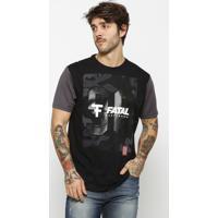 """Camiseta """"Skateboard"""" Com Textura- Preta & Cinza Escuro"""