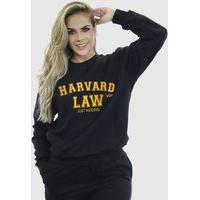 Blusa Moletom Feminino Moleton Básico Suffix Preto Estampa Harvard Law Amarelo