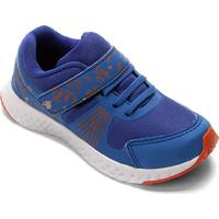 Tênis Infantil No Stress Detalhe Velcro Running - Masculino-Azul Royal+Laranja