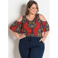 Blusa Com Ombros Vazados Plus Size Arabesco