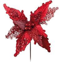 Flor Decoração Natalina Poinsetia Com Glitter Cor Vermelho