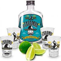 Kit Garrafa E 4 Copos Dose Shot Tequila Ay Caramba