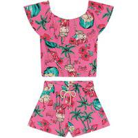 Conjunto Infantil Floral Rovitex Kids Rosa